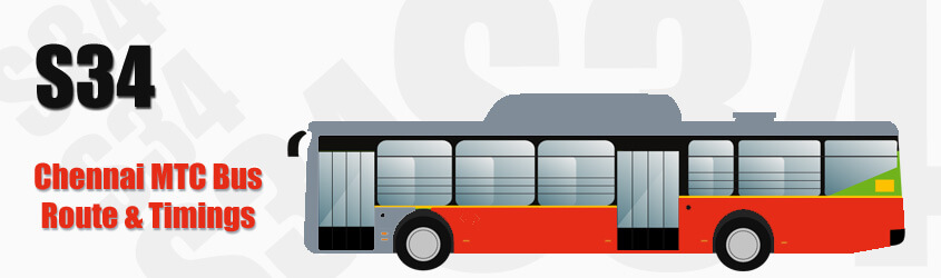 S34 Chennai MTC City Bus Route and MTC Bus Route S34 Timings with Bus Stops